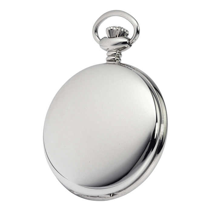 Simple Chrome Quartz Pocket Watch With Chain