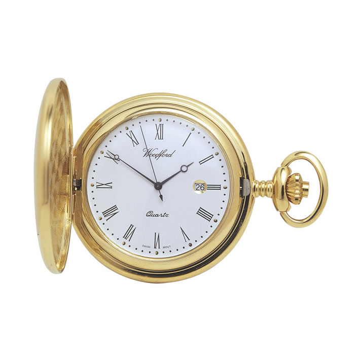 Gold Plated Quartz Pocket Watch And Chain