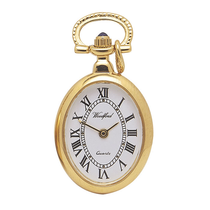 Gold Plated Quartz Oval Shaped Pendant Watch