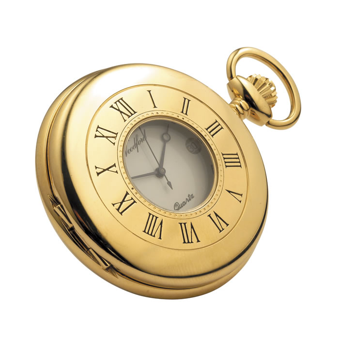 Gold Plated Quartz Pocket Decorative Watch With Chain