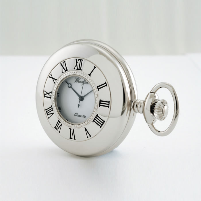 Chrome Half Hunter Quartz Pocket Watch With Chain
