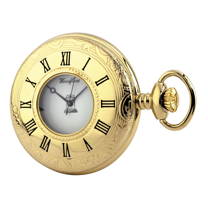 Gold Plated Masonic Quartz Pocket Watch With Chain