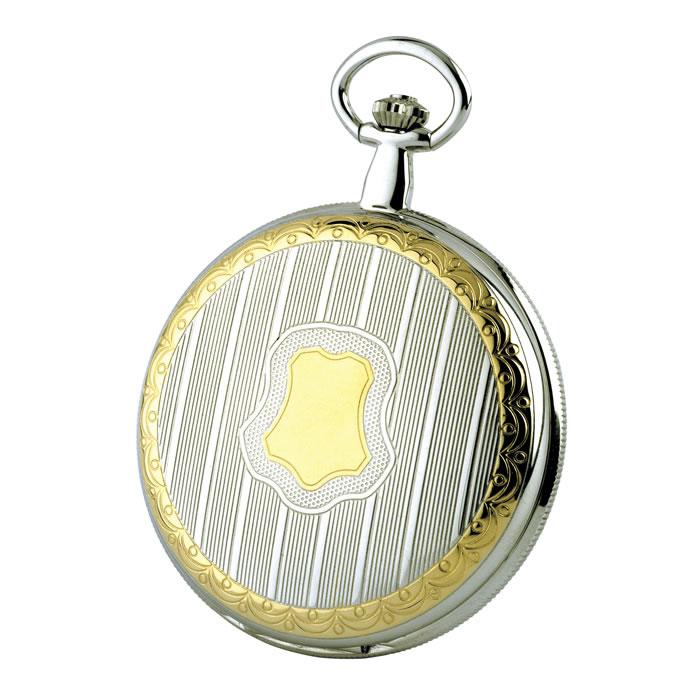 Chrome Two Tone Quartz Pocket Watch With Chain