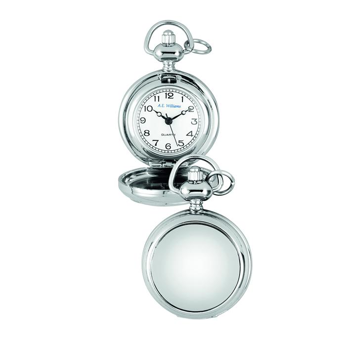 Chrome Plain Quartz Pocket Watch With Chain