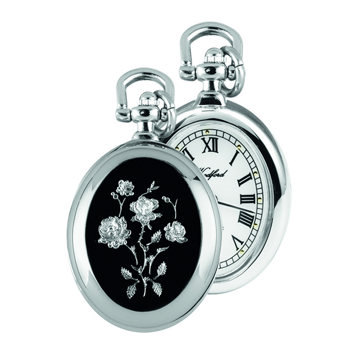 Chrome Flower Design Quartz Pocket Watch With Chain