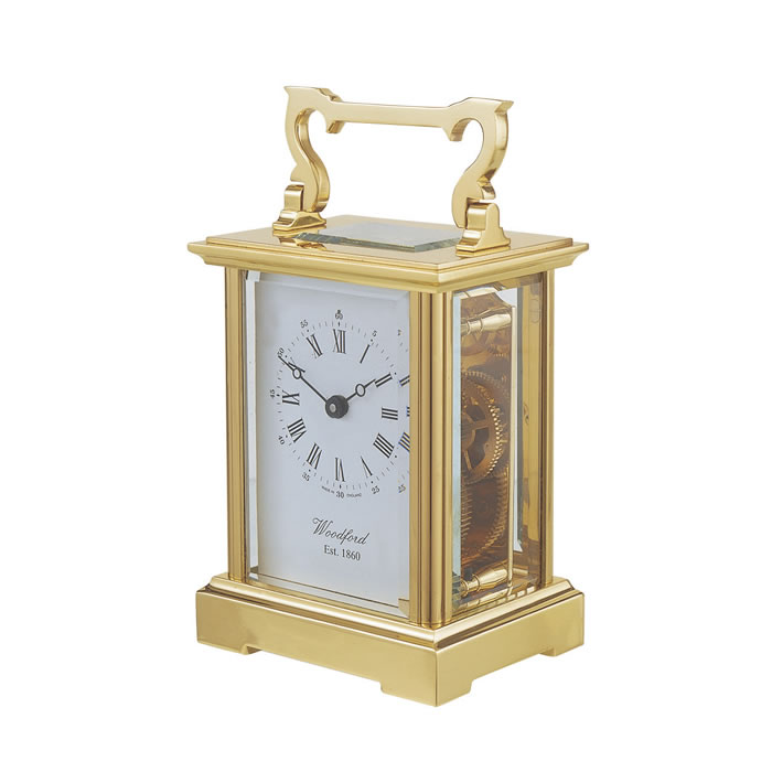 Brass Anglaise Eight Day Movement Mechanical Carriage Clock