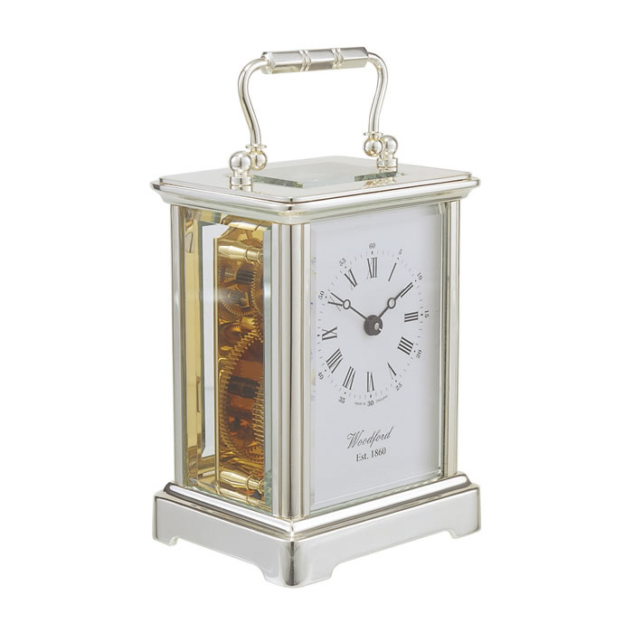 Chrome Obis Eight Day Movement Mechanical Carriage Clock