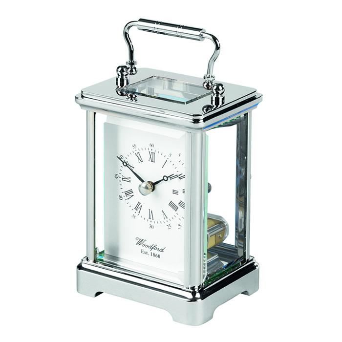 Chrome Obis Skeleton Quartz Carriage Clock