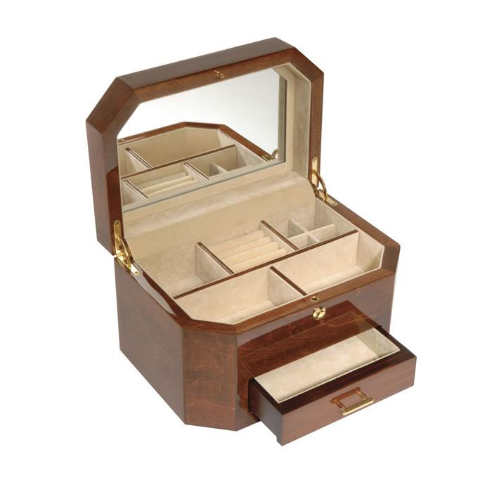 Wooden Veneered Octagonal Jewellery Box