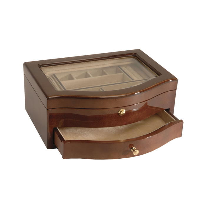 Wooden Veneered Square Curved Front Jewellery Box