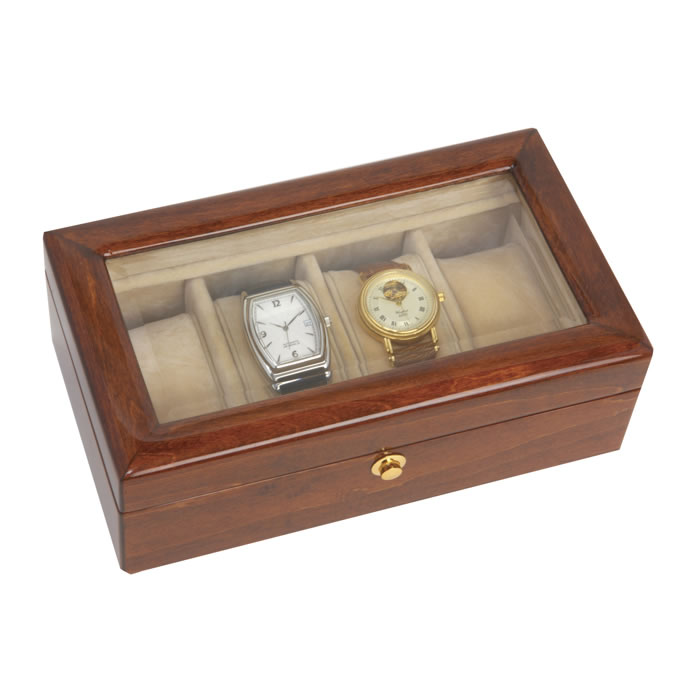 Wooden Veneered Four Watch Box