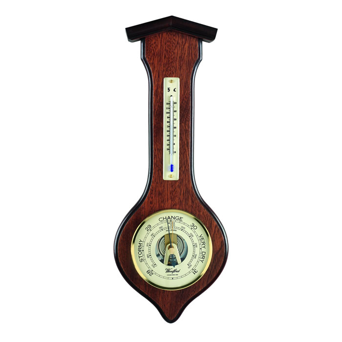Arrow Shaped Veneered Barometer And Thermometer