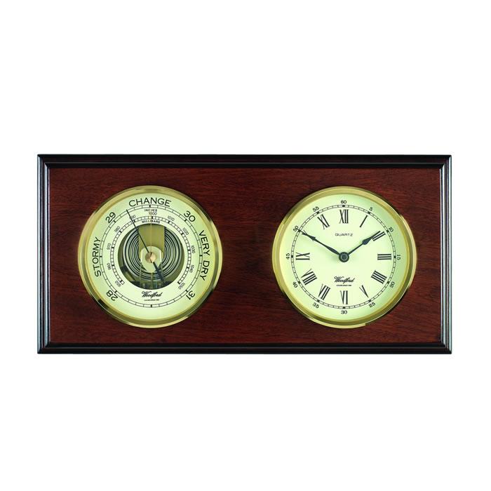 Rectangle Shaped Veneered Barometer And Clock