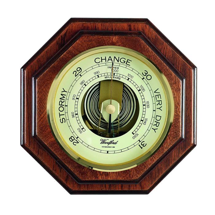Octagonal Veneered Barometer
