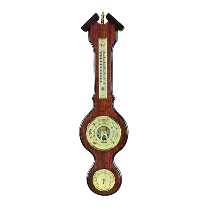 Veneered Barometer With Thermometer And Hygrometer