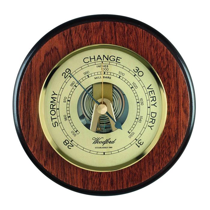 Circular Veneered Barometer