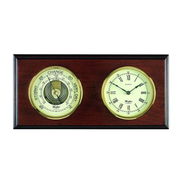Rectangular Veneered Barometer And Clock
