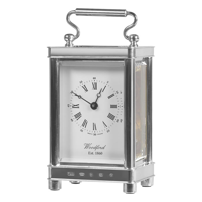 Sterling Silver Eight Day Movement Mechanical Carriage Clock
