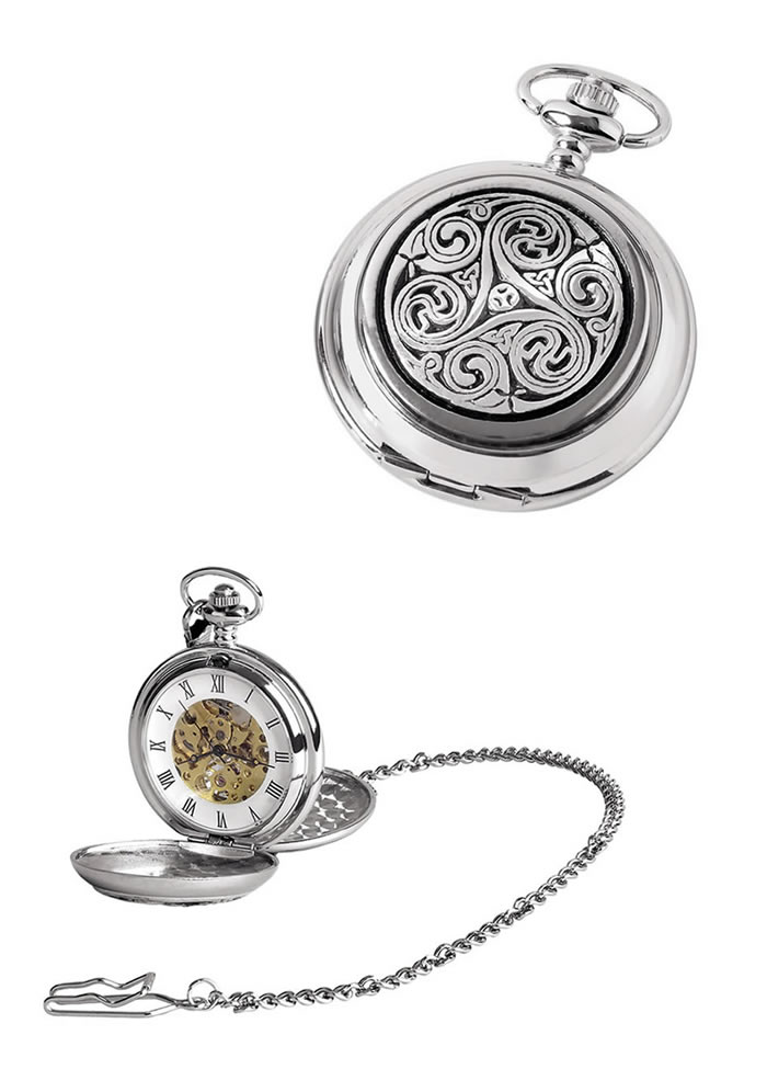 Chrome Celtic Swirl Spring Wound Skeleton Pocket Watch With Chain