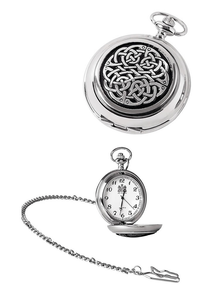 Chrome Celtic Knot Quartz Pocket Watch And Chain