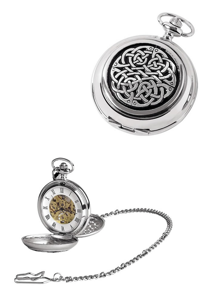 Chrome Celtic Knot Spring Wound Skeleton Chain And Pocket Watch