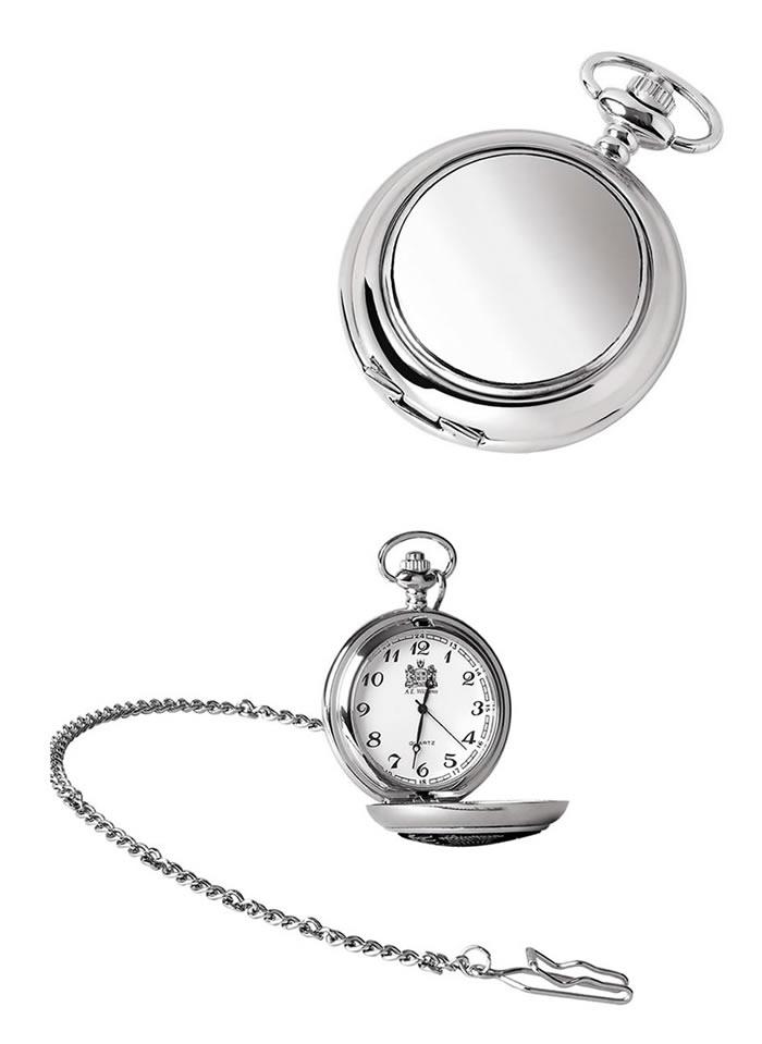 Chrome Quartz Pocket Watch And Chain