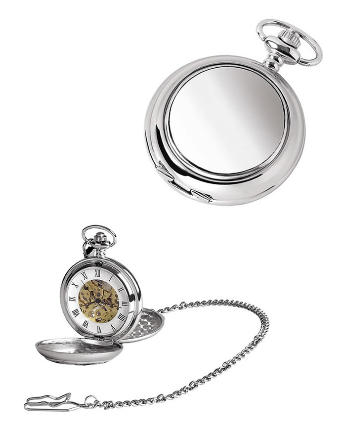 Chrome Spring Wound Skeleton Pocket Watch With Chain