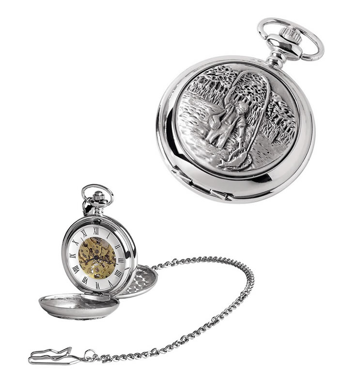 Chrome Fisherman Spring Wound Skeleton Pocket Watch With Chain