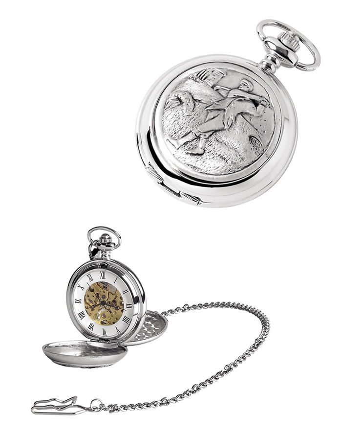 Chrome Golfer Spring Wound Skeleton Pocket Watch With Chain