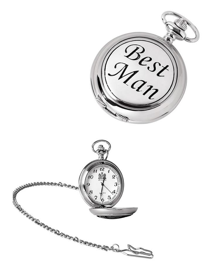 Chrome Best Man Quartz Pocket Watch With Chain