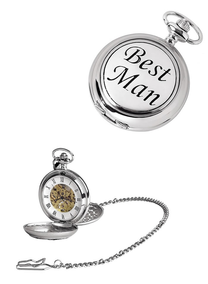 Chrome Best Man Spring Wound Skeleton Pocket Watch With Chain