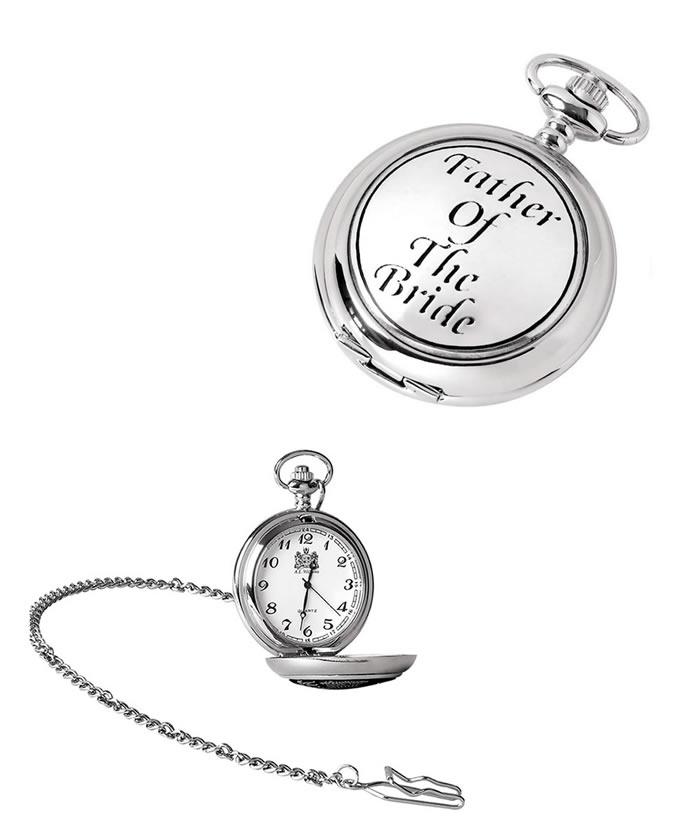 Chrome Brides Father Quartz Pocket Watch With Chain