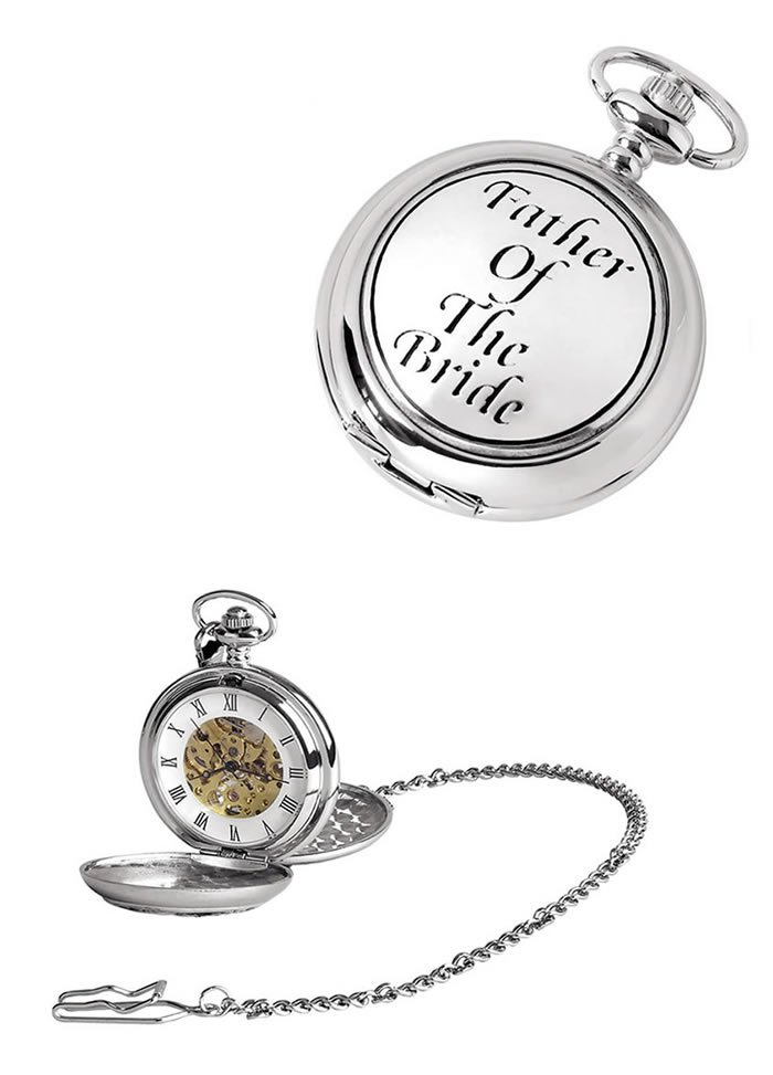 Chrome Brides Father Spring Wound Skeleton Pocket Watch With Chain