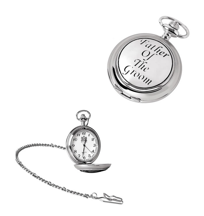 Chrome Grooms Father Quartz Pocket Watch With Chain