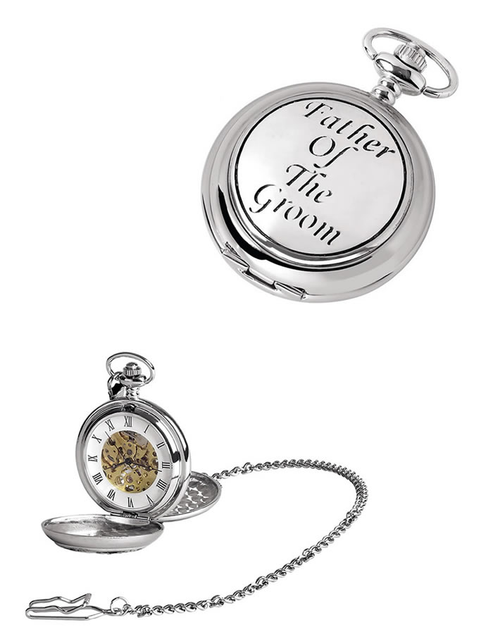 Chrome Grooms Father Spring Wound Skeleton Pocket Watch With Chain