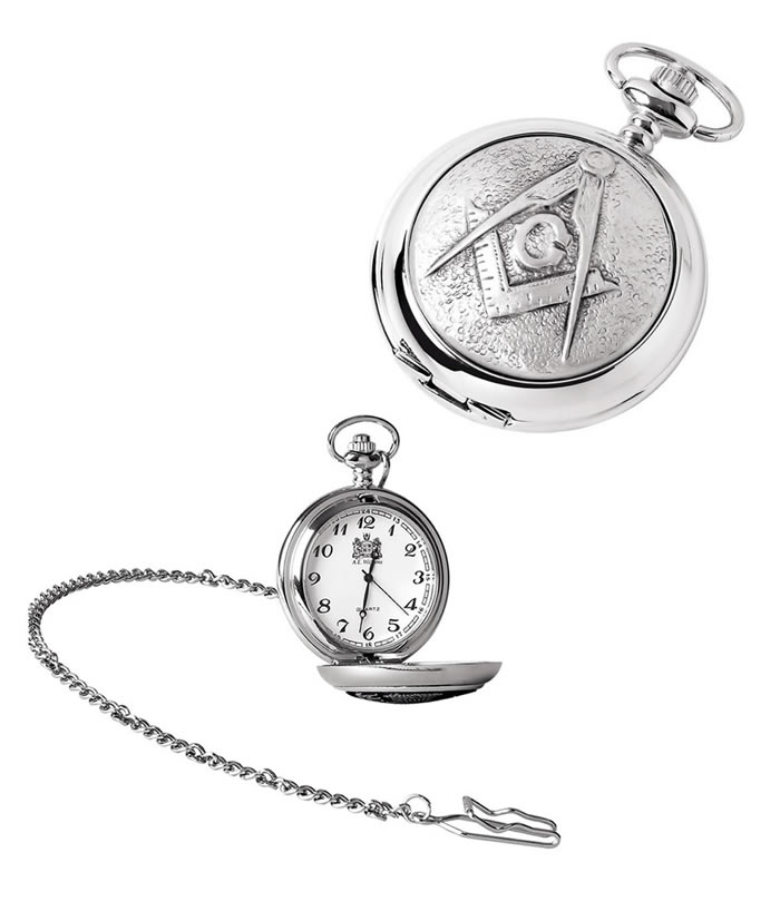 Chrome Masonic Quartz Pocket Watch And Chain