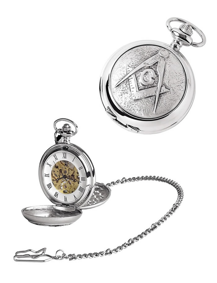 Chrome Masonic Spring Wound Skeleton Pocket Watch And Chain