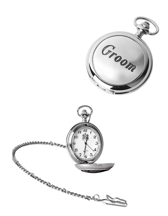 Chrome Groom Quartz Pocket Watch With Chain