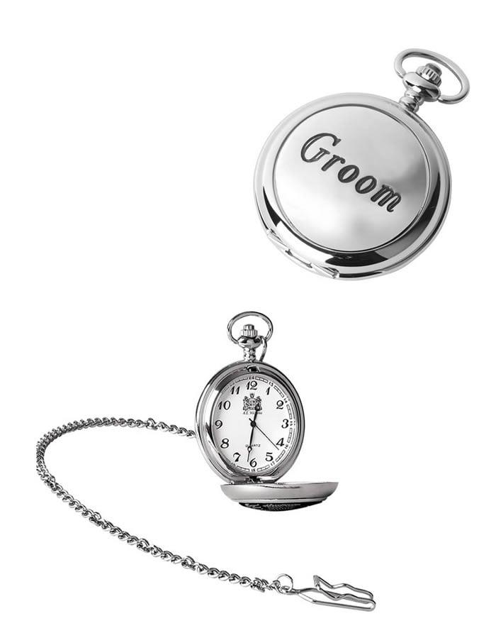 Chrome Groom Quartz Pocket Watch With Chain