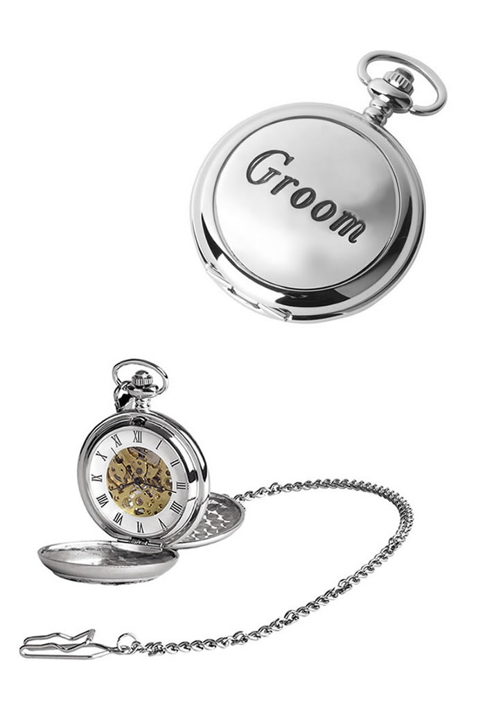 Chrome Groom Spring Wound Skeleton Pocket Watch With Chain