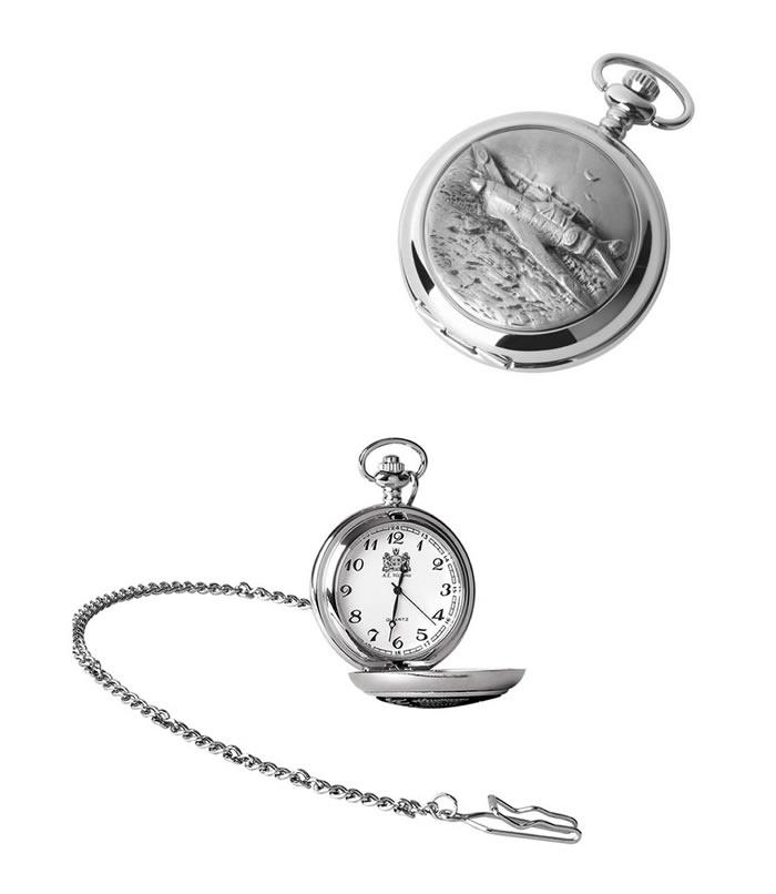 Chrome Spitfire Quartz Pocket Watch With Chain