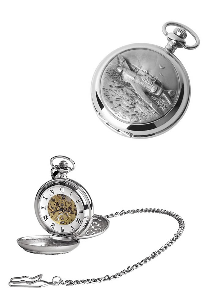 Chrome Spitfire Spring Wound Skeleton Pocket Watch With Chain