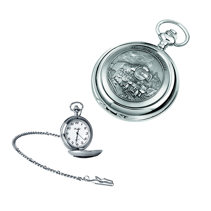 Chrome Train Quartz Pocket Watch With Chain