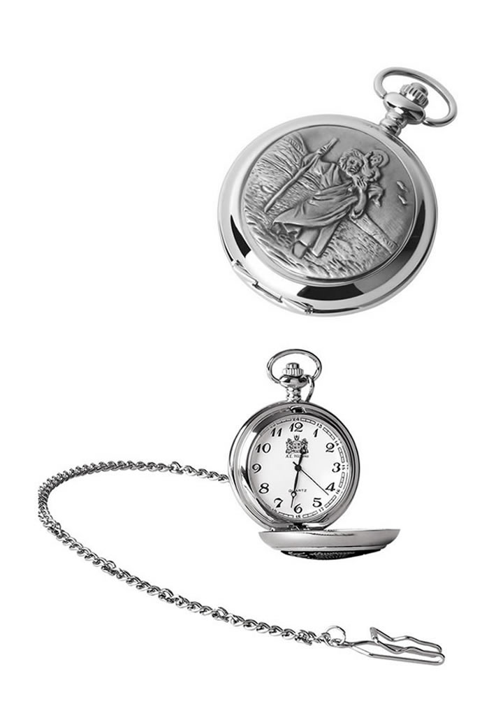 Chrome St Christopher Quartz Pocket Watch With Chain