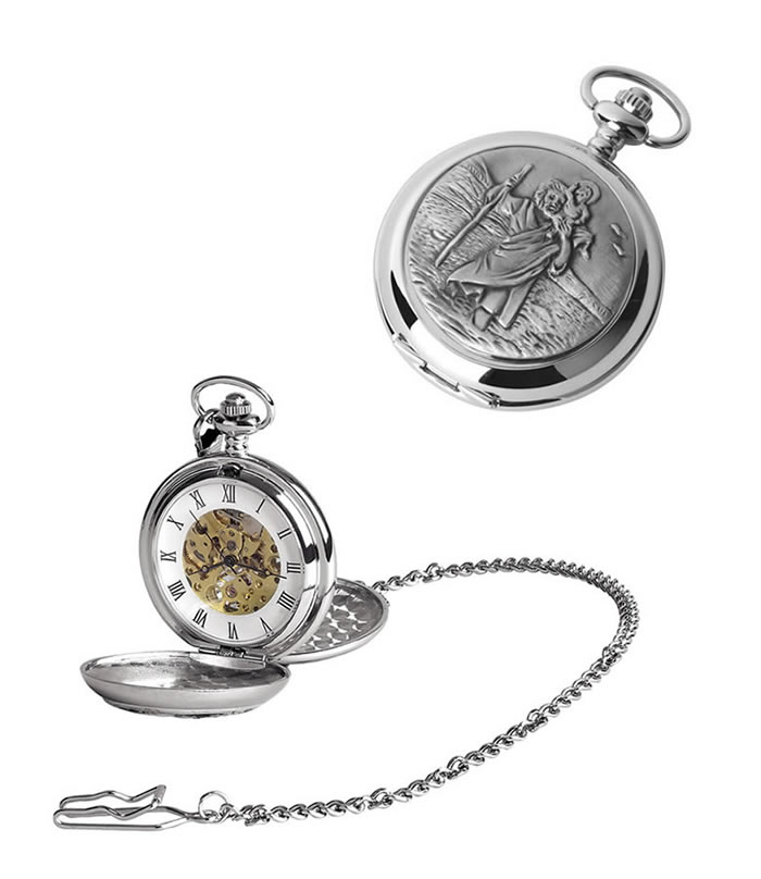 Chrome St Christopher Spring Wound Skeleton Pocket Watch With Chain