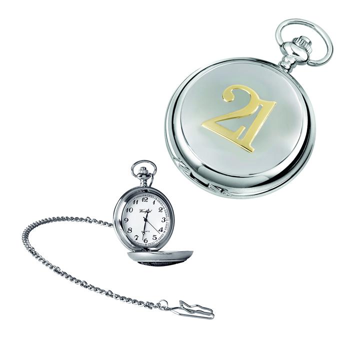 Chrome 21 Quartz Pocket Watch With Chain