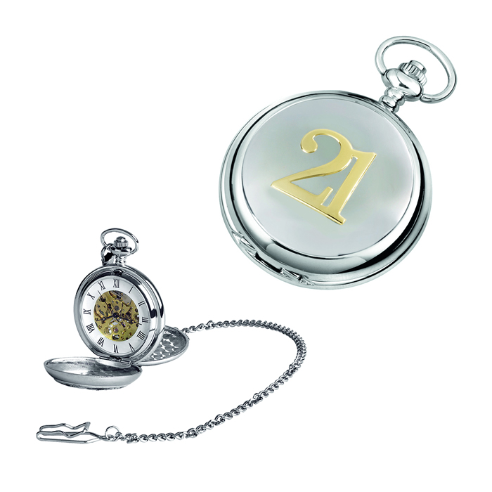 Chrome 21 Spring Wound Skeleton Pocket Watch With Chain