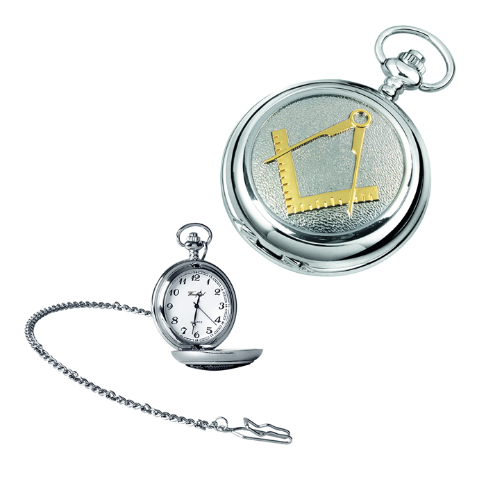 Chrome Gold Look Masonic Quartz Pocket Watch With Chain