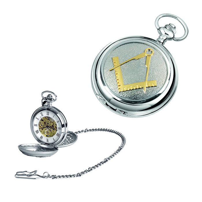 Chrome Gold Look Masonic Spring Wound Skeleton Pocket Watch With Chain