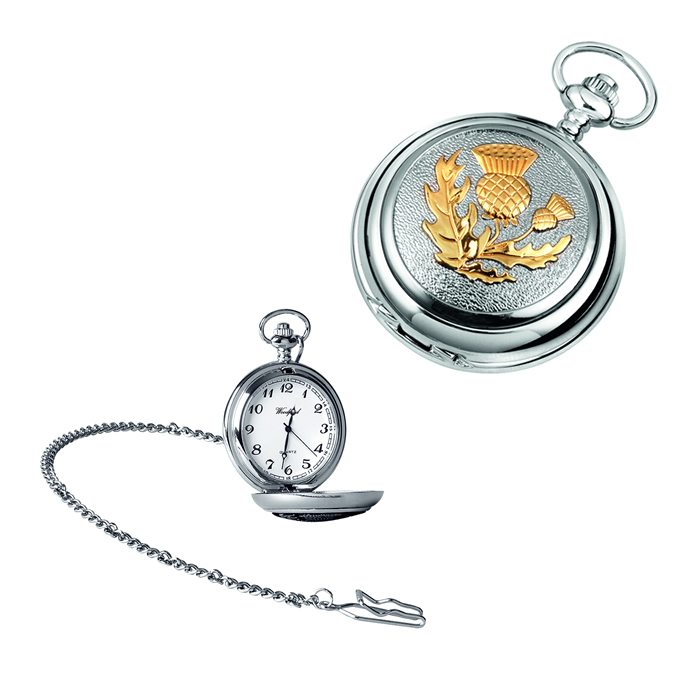Chrome Gold Look Scottish Thistle Quartz Pocket Watch With Chain